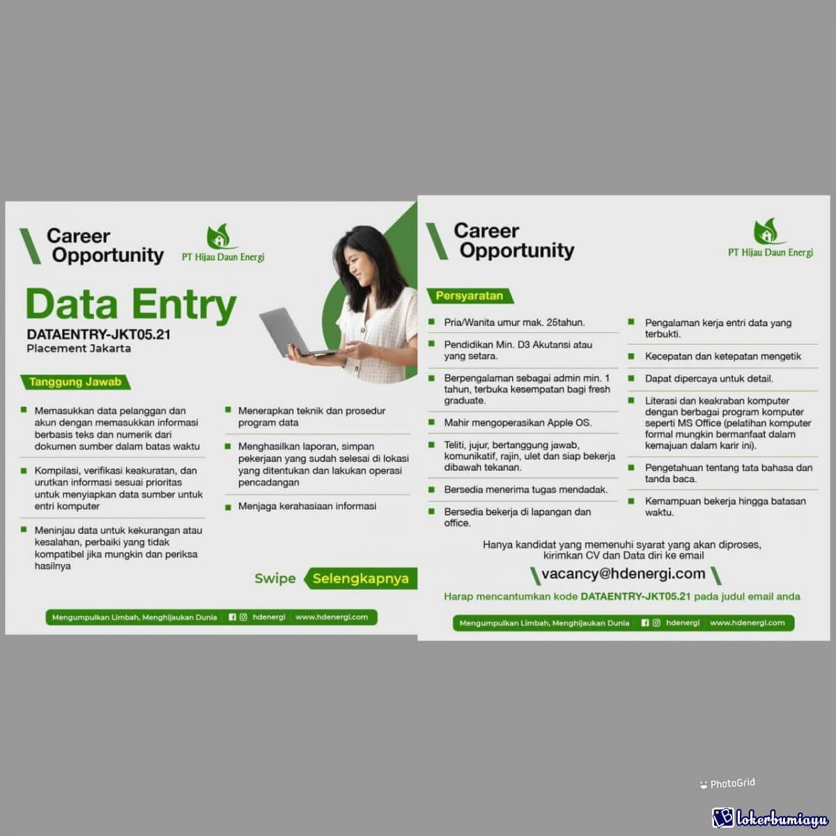 Lowongan Kerja Sebagai Data Entry Juni 2021