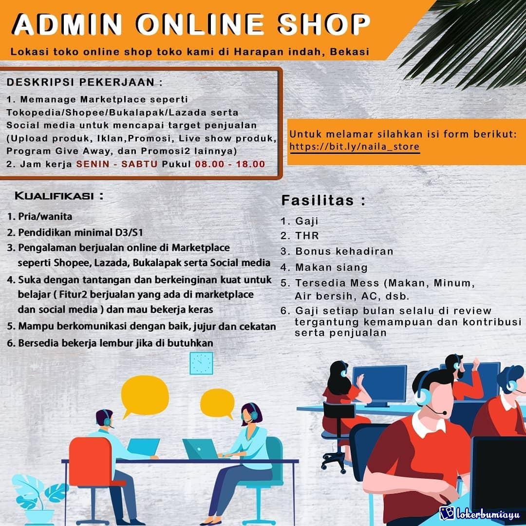 Lowongan Kerja Admin Online Shop Bekasi Januari 2021