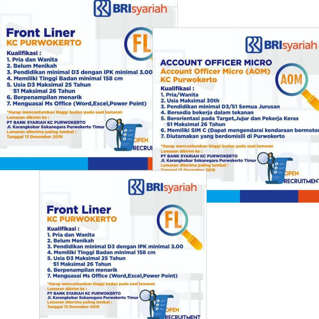 Lowongan Kerja Pt Bank Bri Syariah Tbk Kc Purwokerto Desember 2019