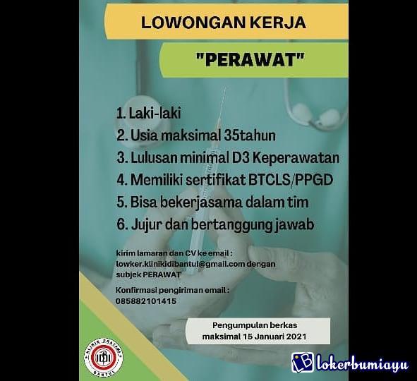 Lowongan Kerja Klinik Pratama Idi Bantul Yogyakarta Januari 2021