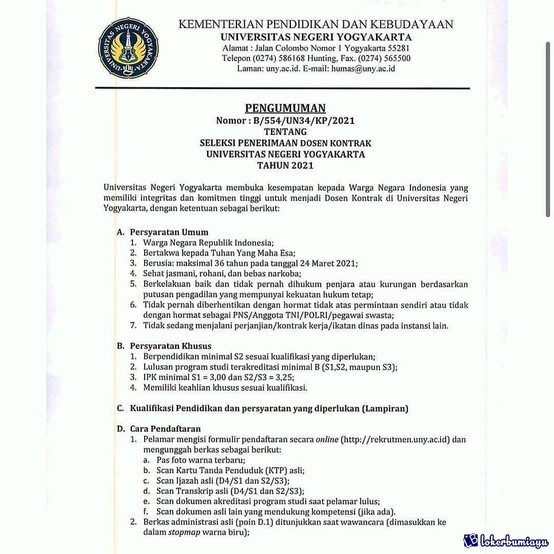 Lowongan Kerja Universitas Negeri Yogyakarta Maret 2021