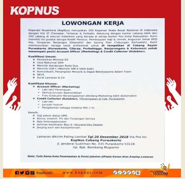 Lowongan Kerja Koperasi Nusantara Kopnus Februari 2019