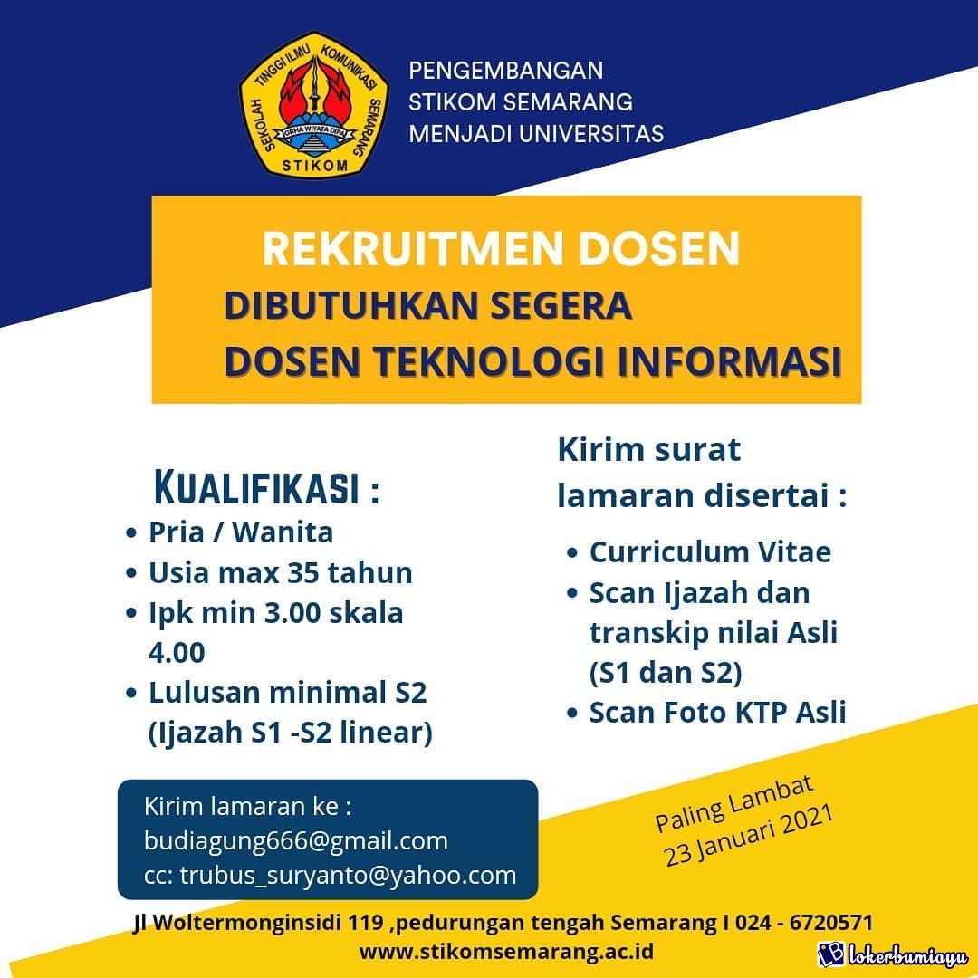 Lowongan Kerja Stikom Semarang Januari 2021