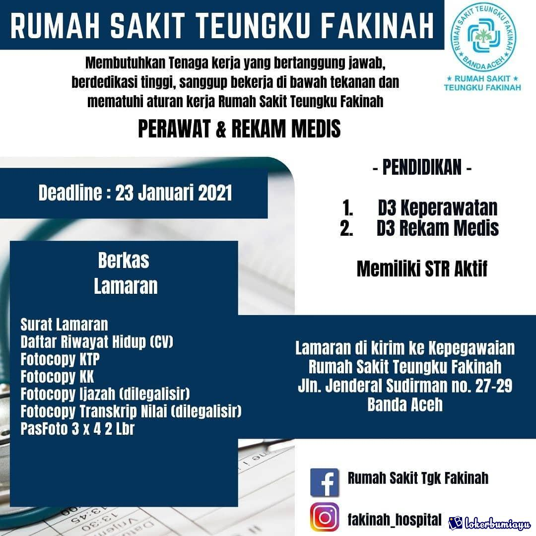 Lowongan Kerja Rs Teungku Fakinah Banda Aceh Januari 2021