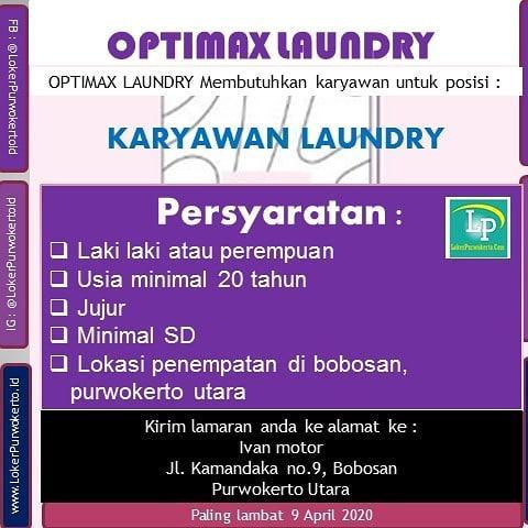 Lowongan Kerja Optimax Laundry Purwokerto Maret 2020