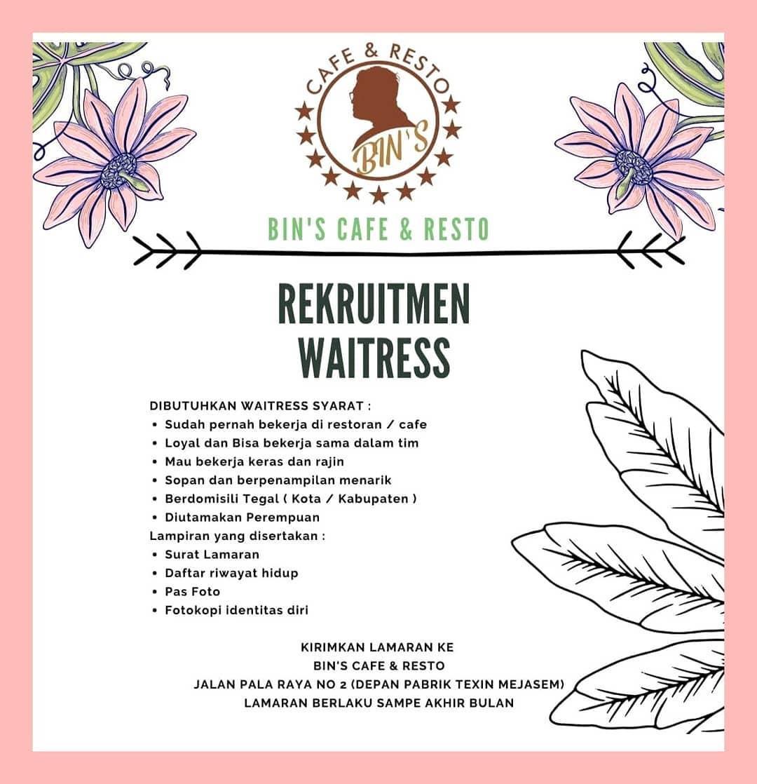 Lowongan Kerja Bins Cafe Resto Tegal Agustus 2020