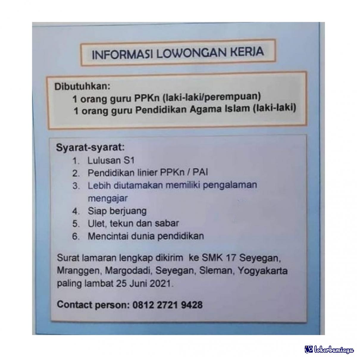 Lowongan Kerja Di Prov Di Yogyakarta Juni 2021