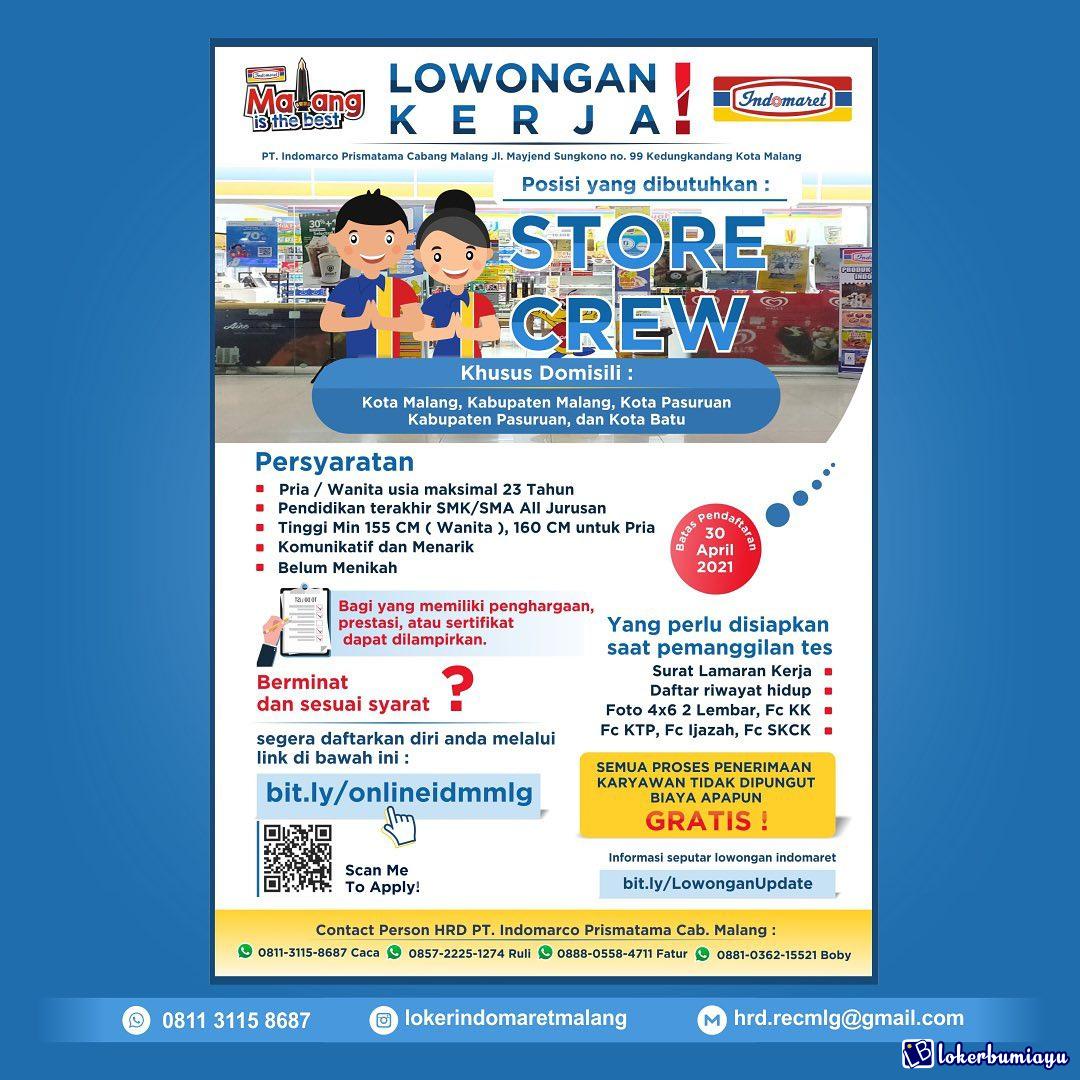 Lowongan Kerja Store Crew Indomaret Malang
