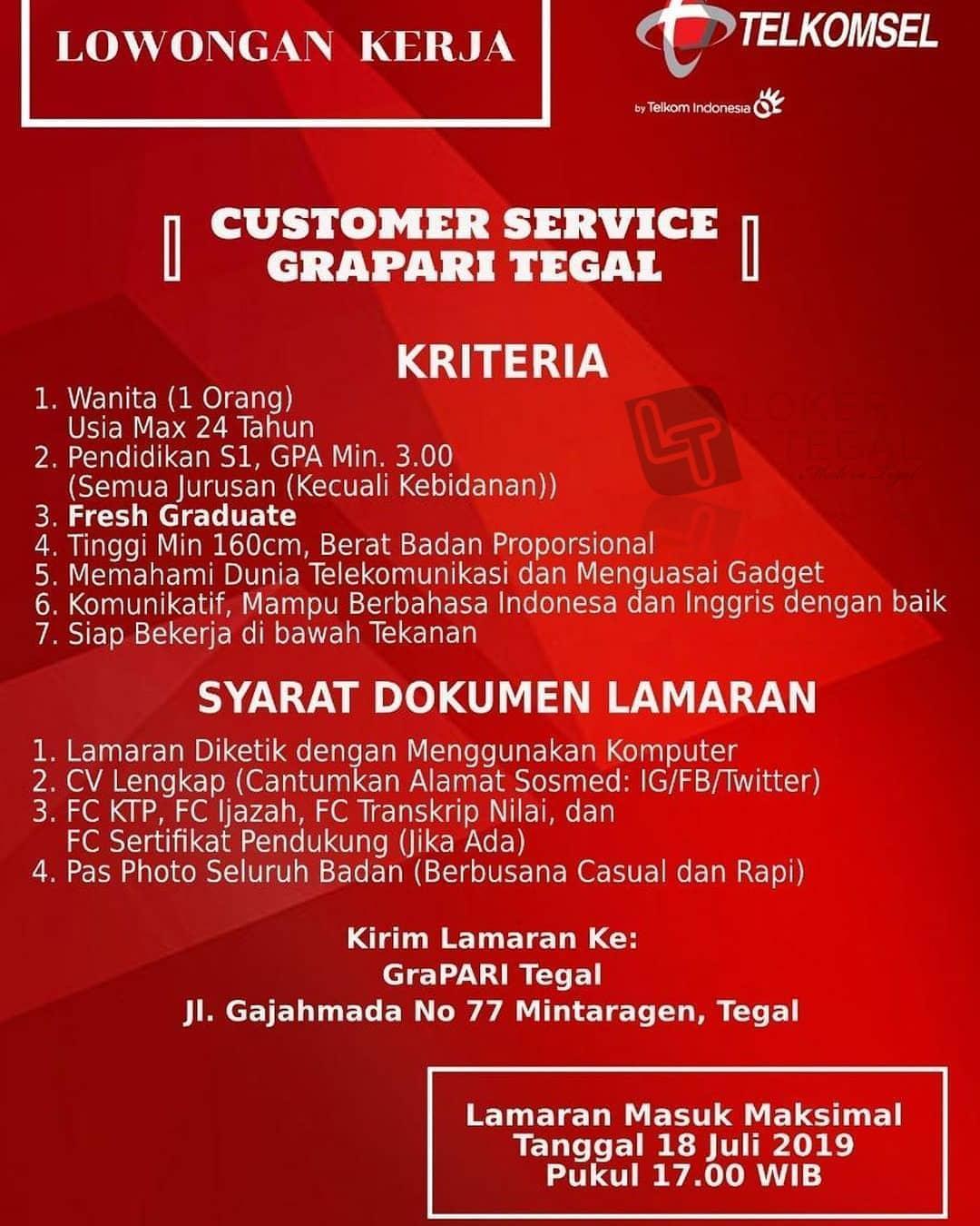 Lowongan Kerja Customer Service Grapari Tegal Desember 2020