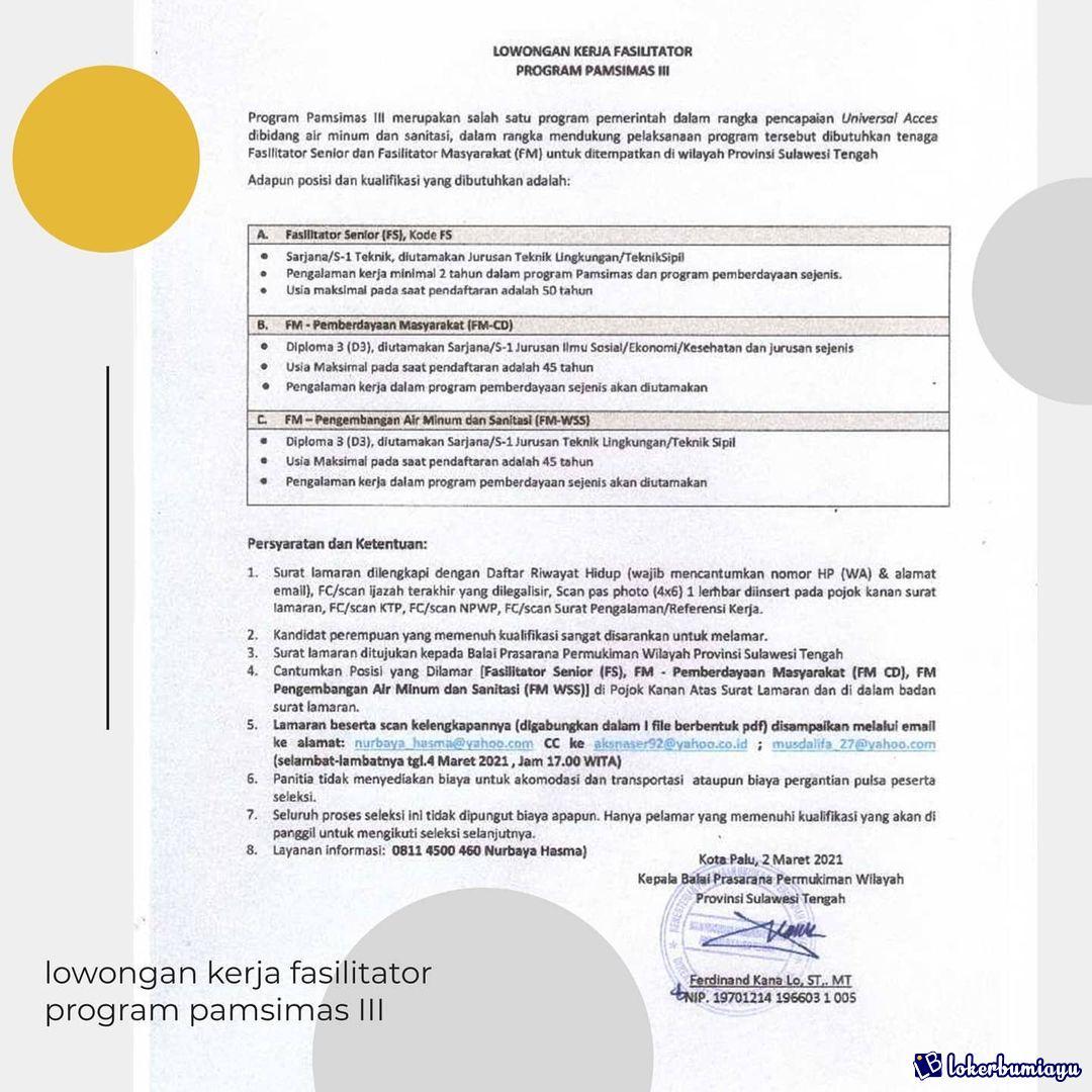 Lowongan Kerja Di Palu Sulawesi Tengah Juni 2021