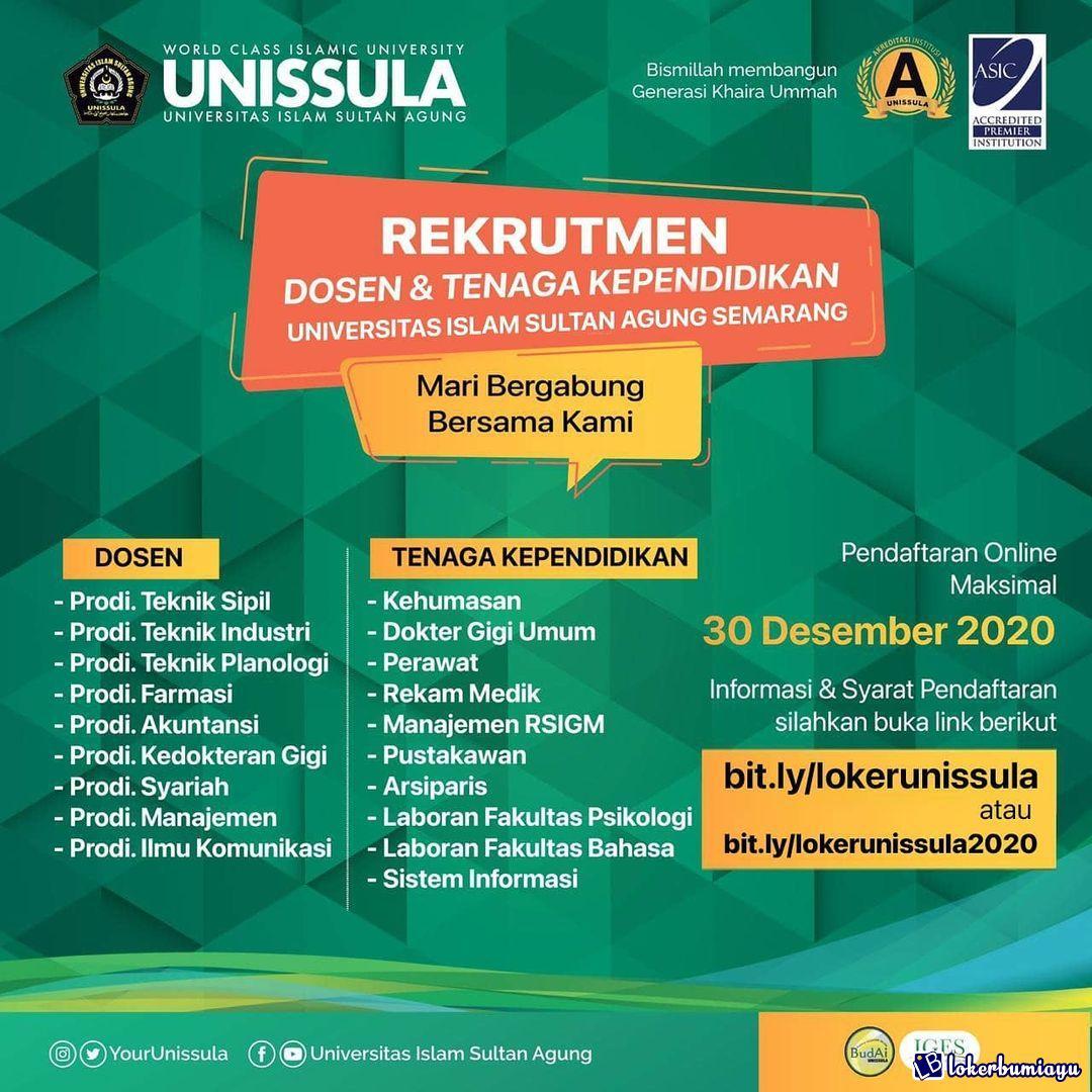 Lowongan Kerja Universitas Islam Sultan Agung Semarang Desember 2020