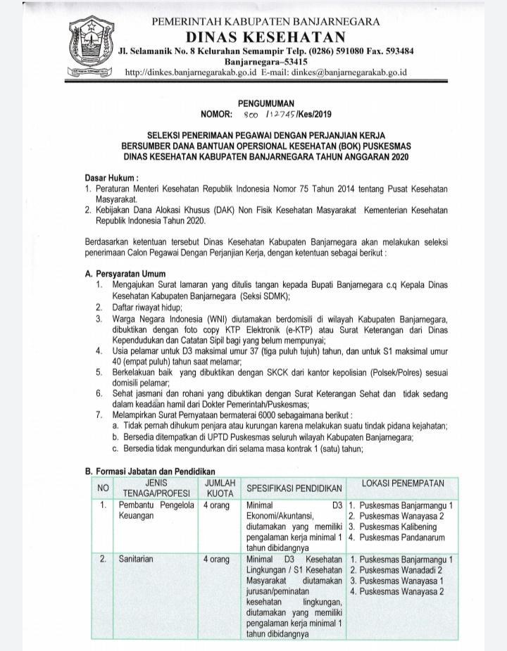 Lowongan Kerja Dinas Kesehatan Kabupaten Banjarnegara Desember 2019
