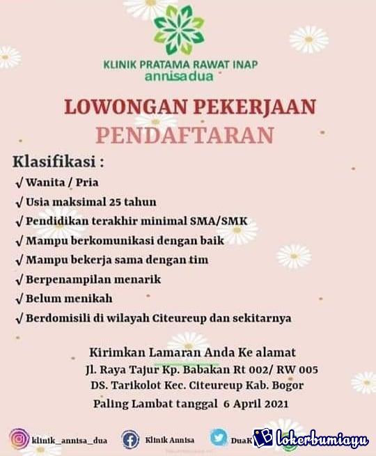Lowongan Kerja Smk Di Citeureup Bogor Juni 2021