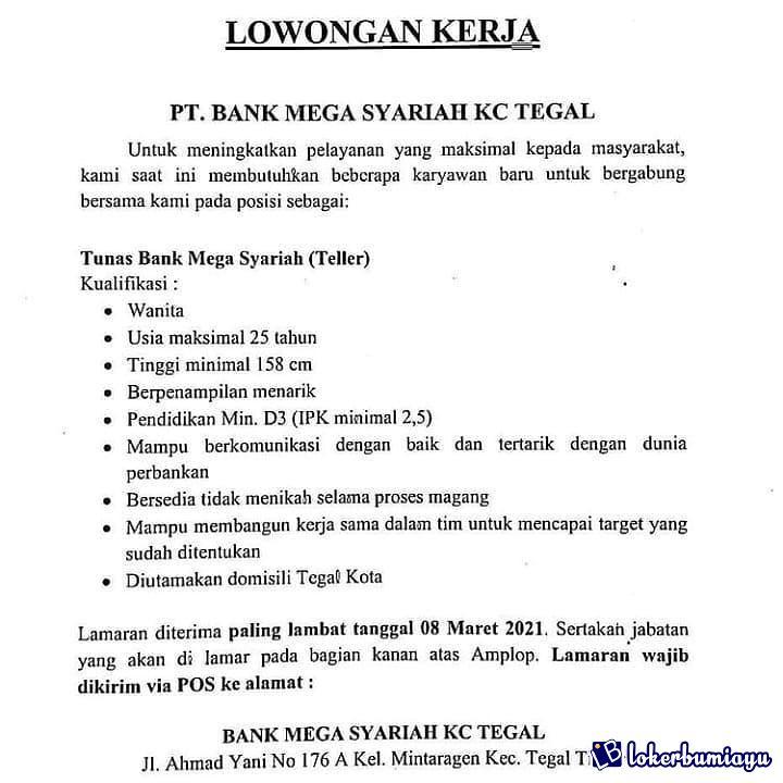 PT BANK MEGA SYARIAH KC TEGAL