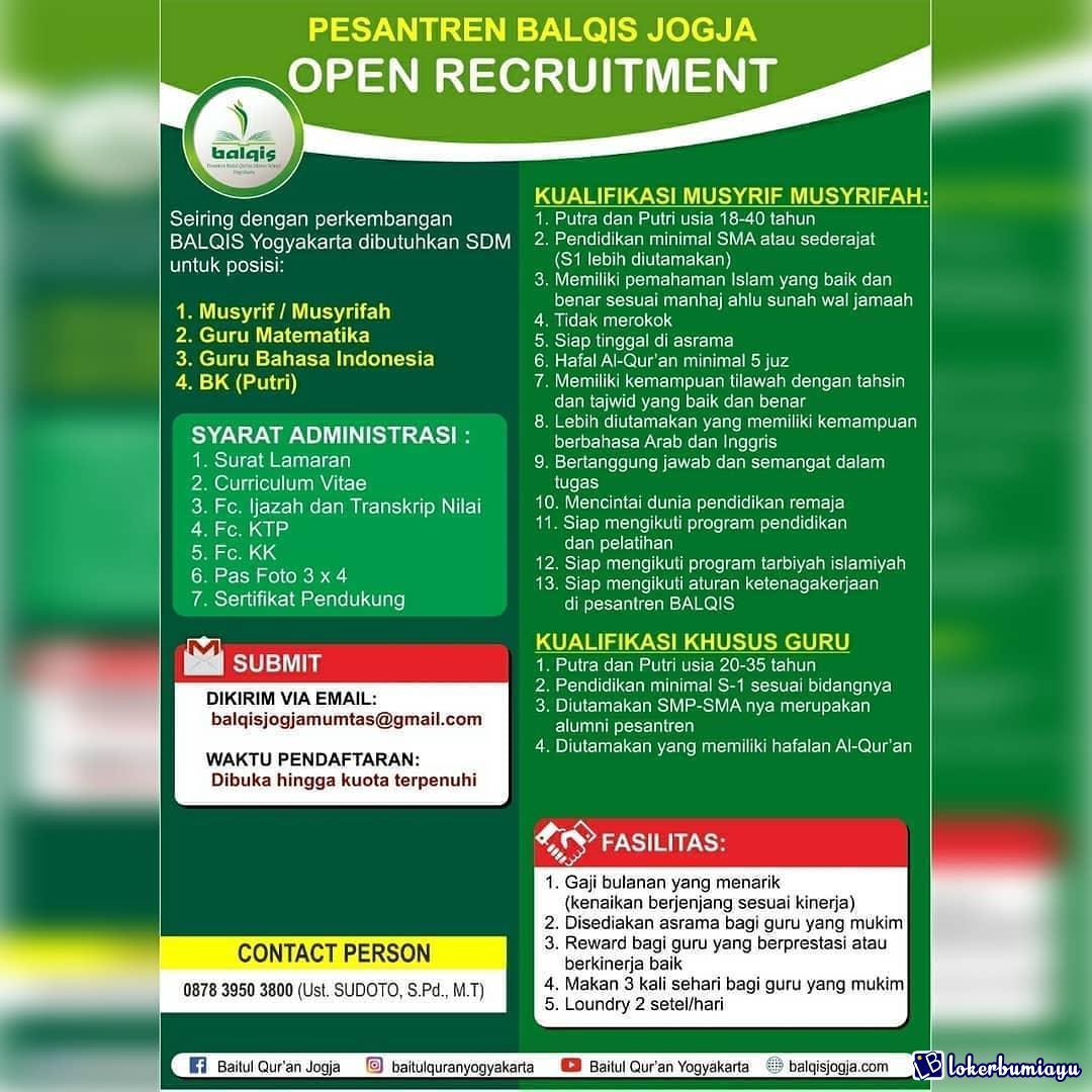 Lowongan Kerja Pesantren Balqis Yogyakarta Januari 2021