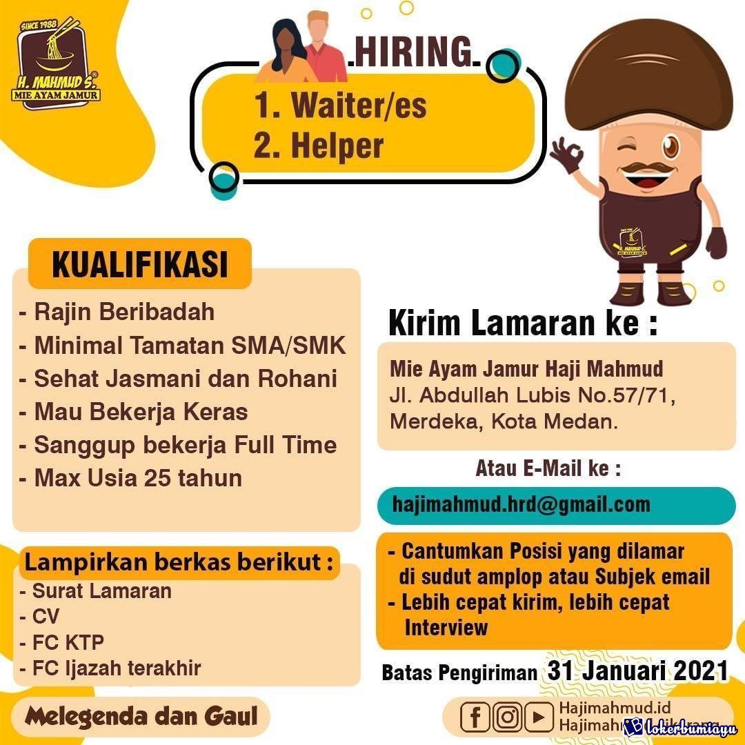 Lowongan Kerja Mie Ayam Jamur Haji Mahmud Medan Januari 2021