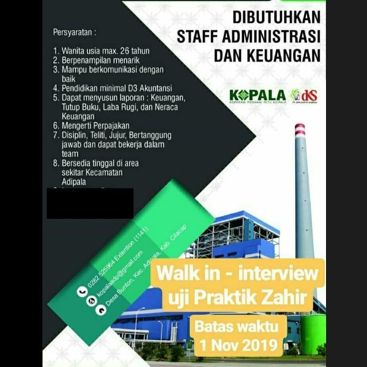 Lowongan Kerja Sebagai Staff Administrasi Dan Keuangan Februari 2021