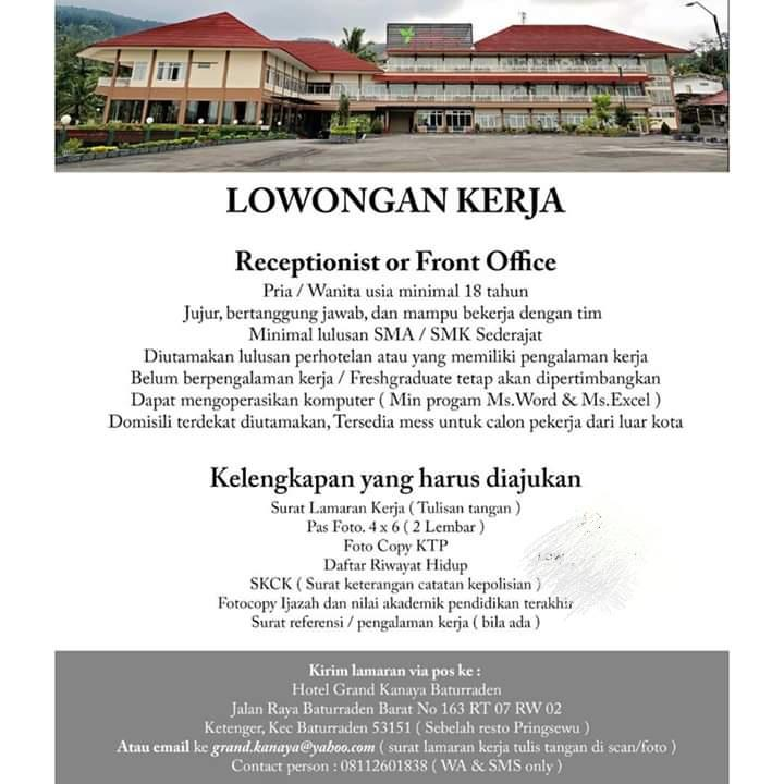 Lowongan Kerja Receptionist Or Front Office Februari 2021