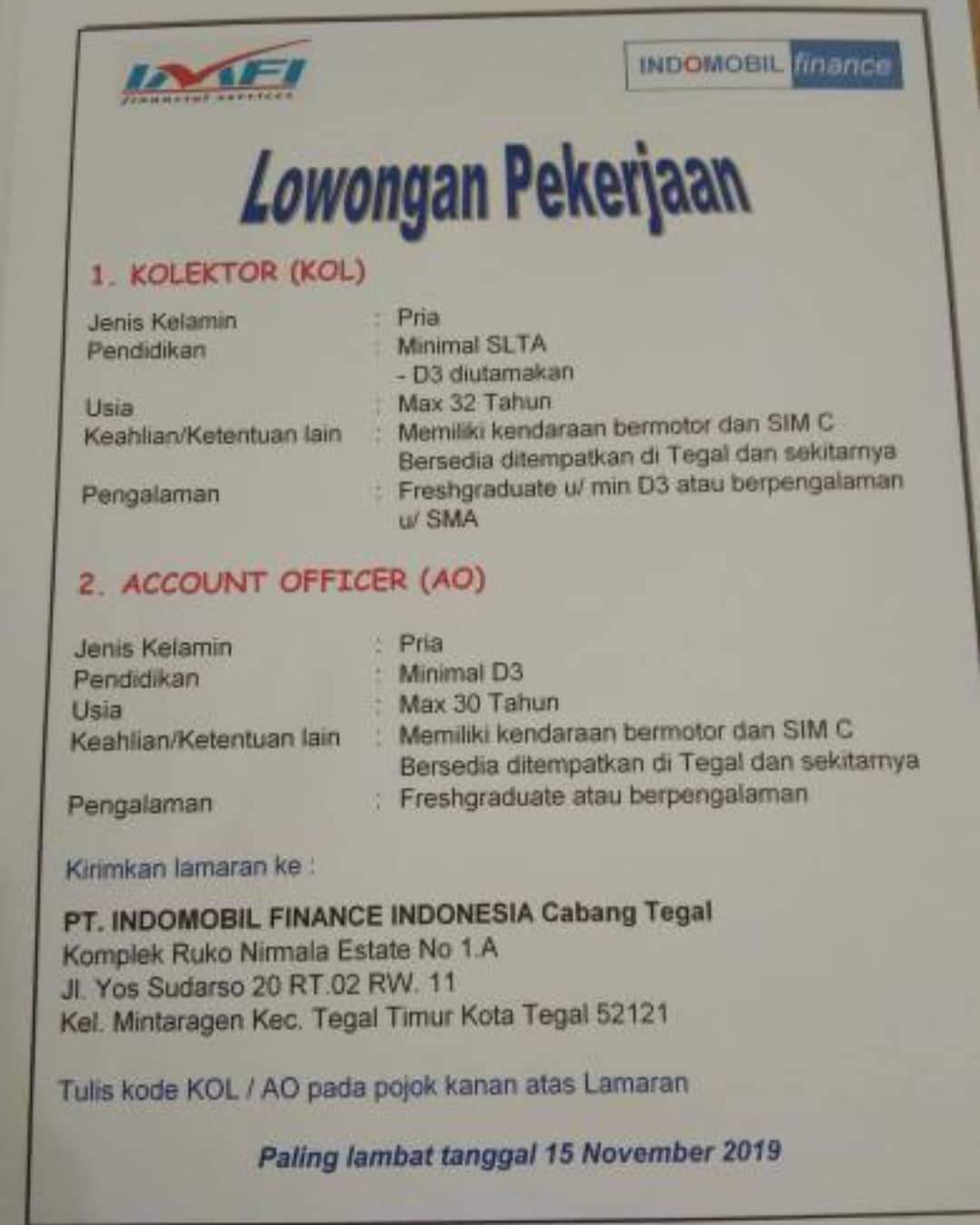 PT. INDOMOBIL FINANCE INDONESIA Cabang Tegal