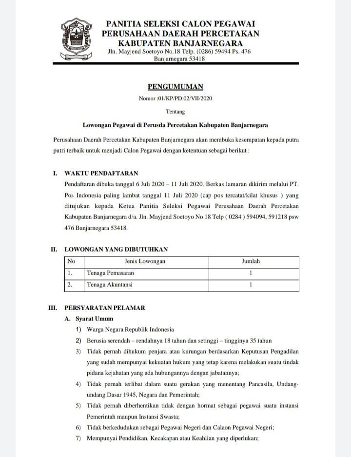 Perusda Percetakan Kabupaten Banjarnegara
