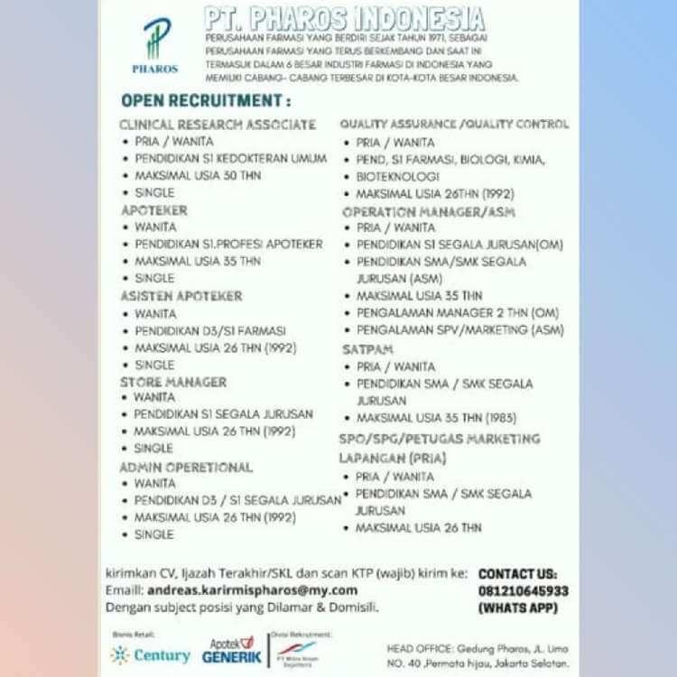 Lowongan Kerja Pt Pharos Indonesia Februari 2019