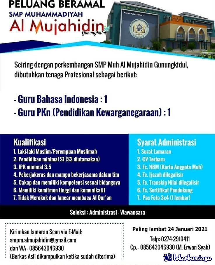 Lowongan Kerja Smp Muh Al Mujahidin Gunungkidul Januari 2021