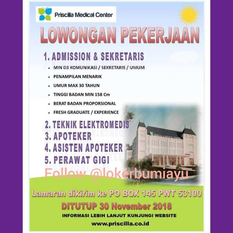 Lowongan Kerja Rumah Sakit Priscilla Medical Center Informasi