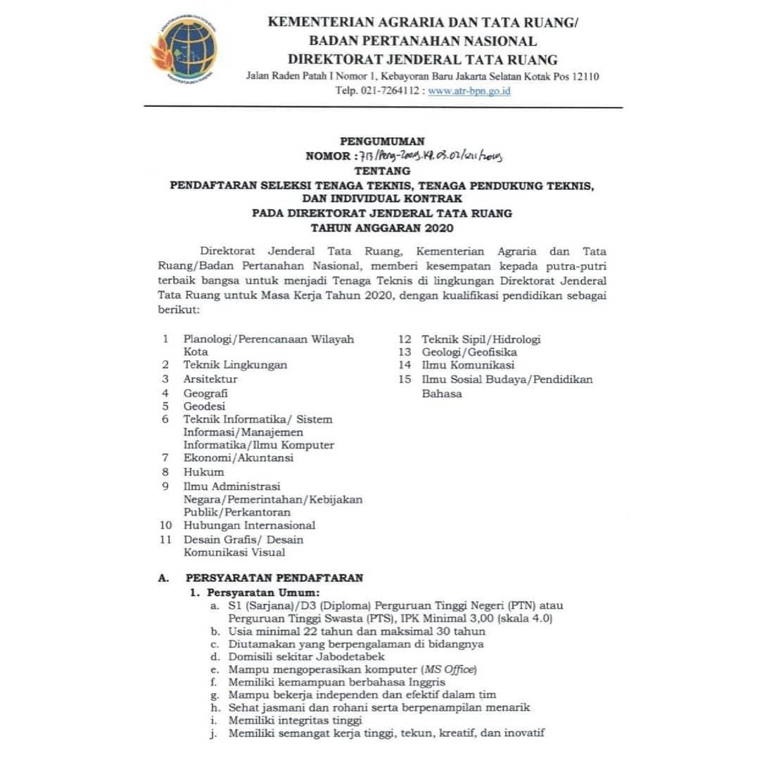 Direktorat Jenderal Tata Ruang, Kementerian Agraria dan Tata Ruang Badan Pertanahan Nasional