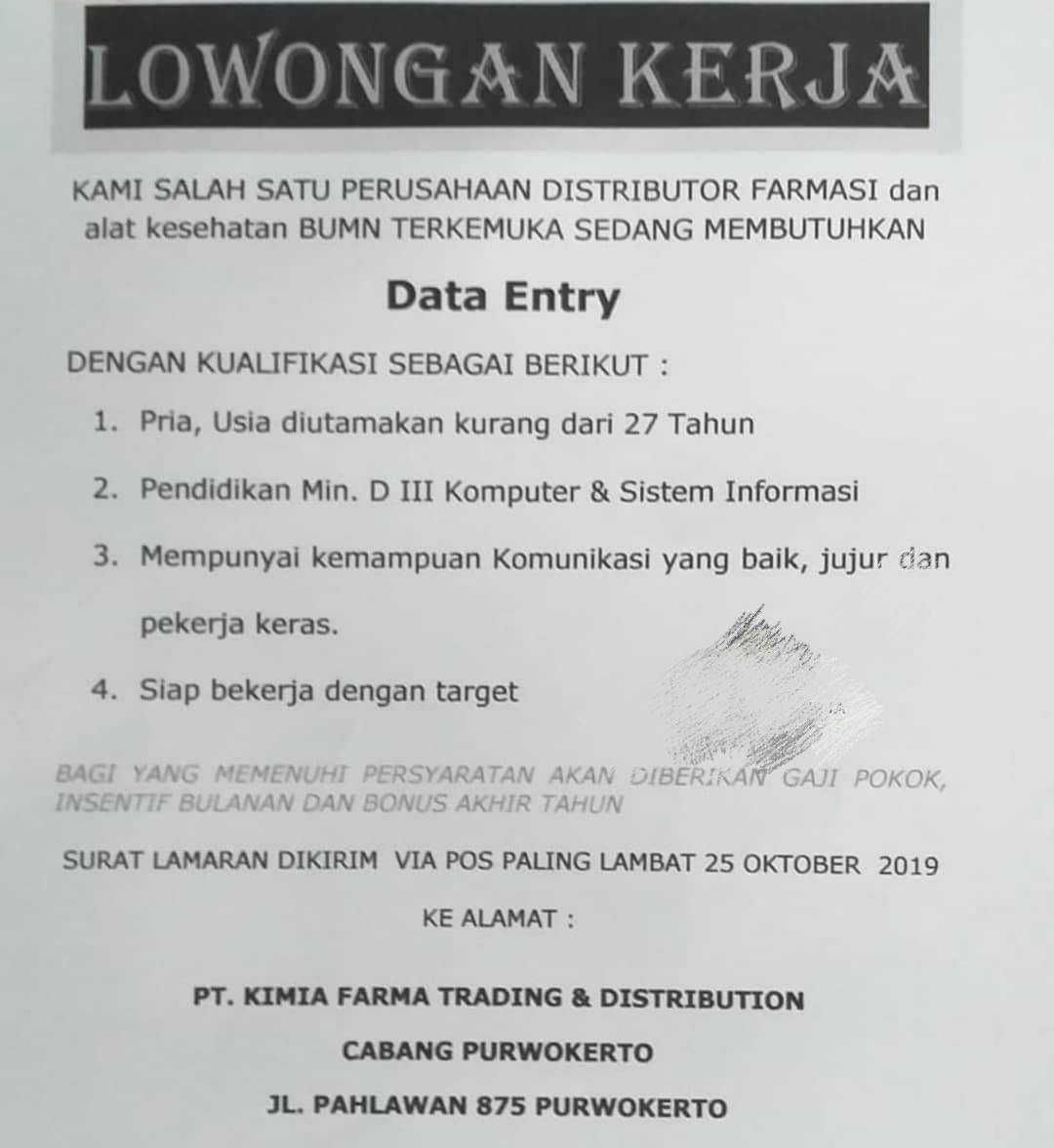 Lowongan Kerja Sebagai Data Entry Februari 2021