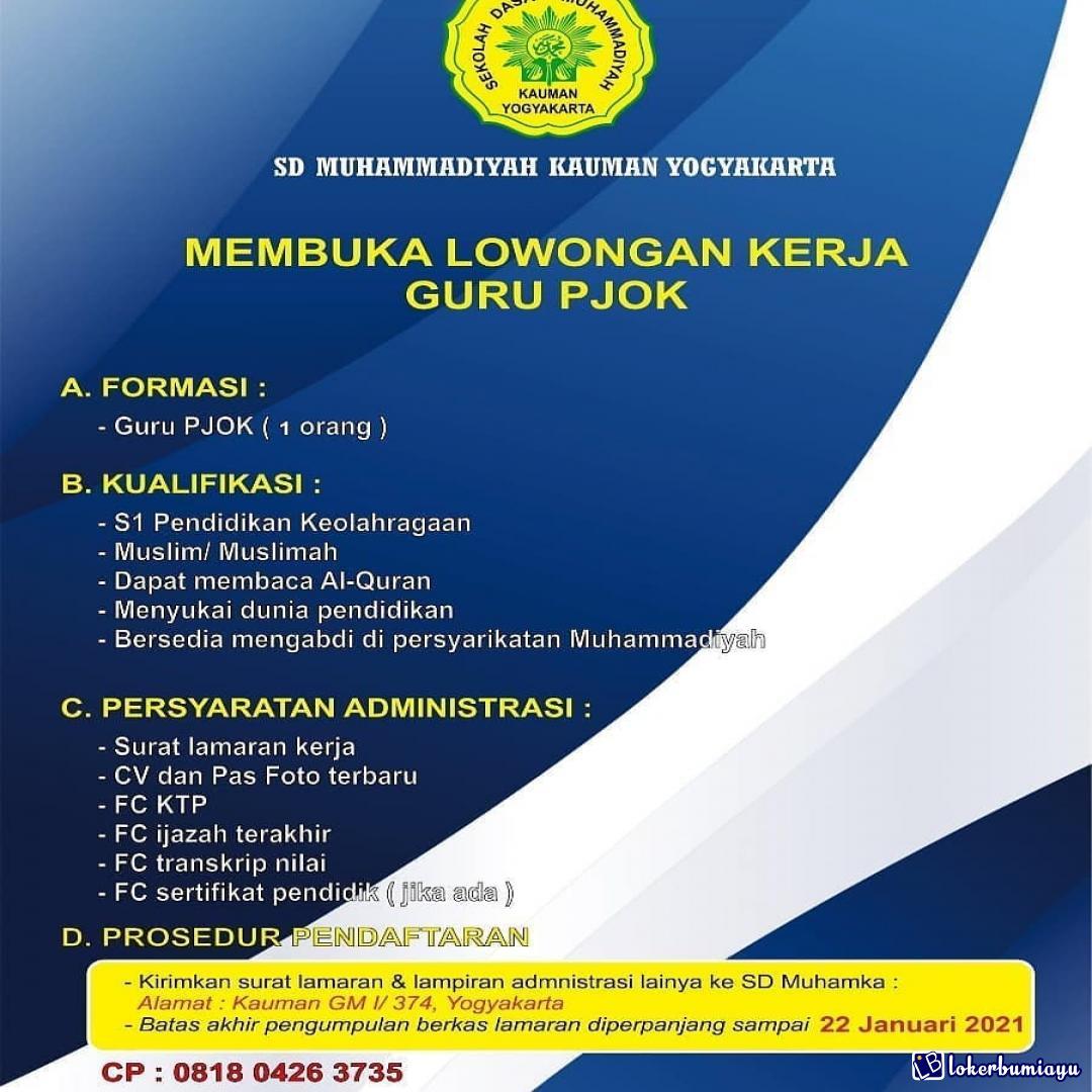 Lowongan Kerja Sd Muhammadiyah Kauman Yogyakarta Januari 2021