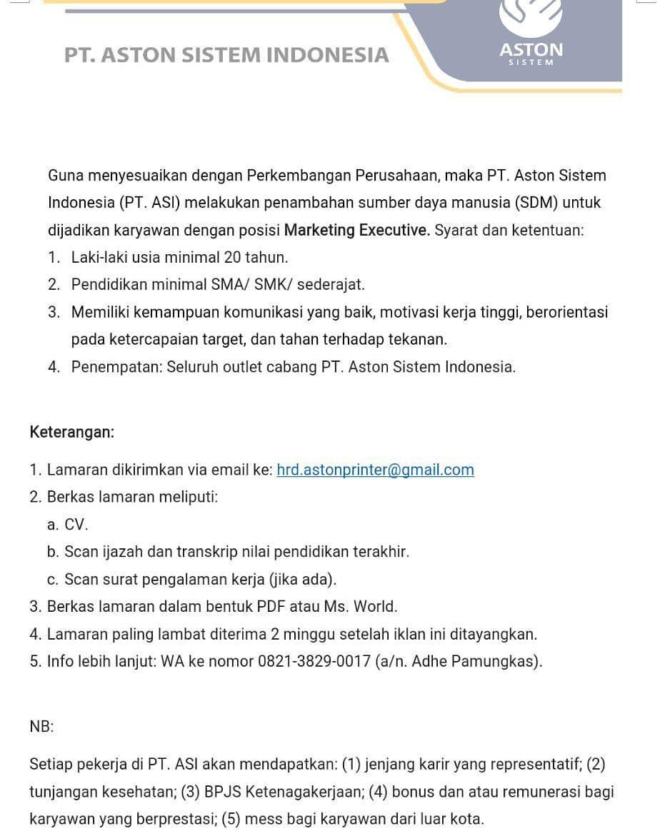 PT ASTON SISTEM INDONESIA