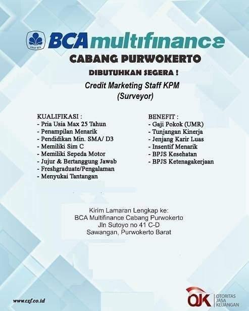 Lowongan Kerja Bca Multifinance Cabang Purwokerto Informasi