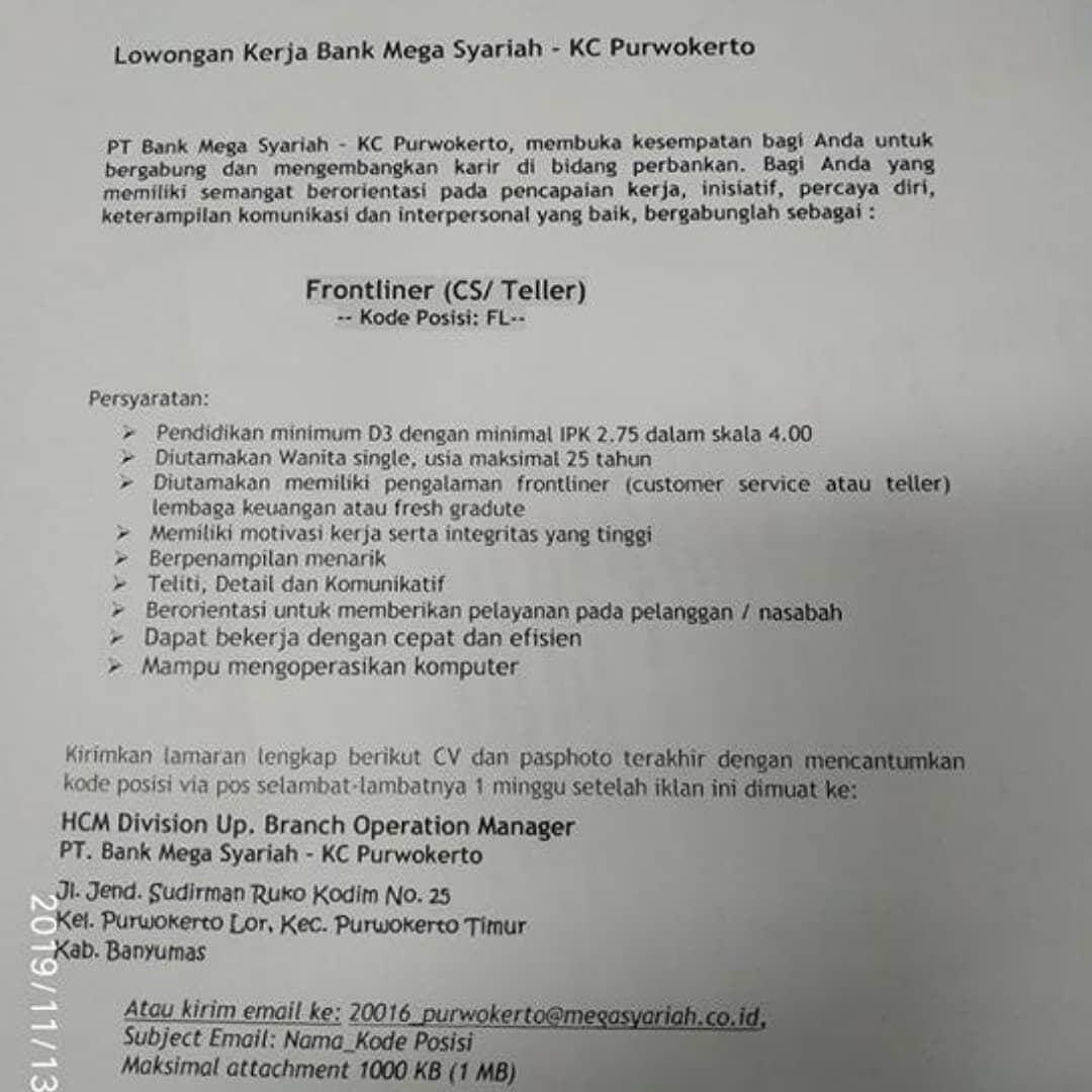PT Bank Mega Syariah KC Purwokerto