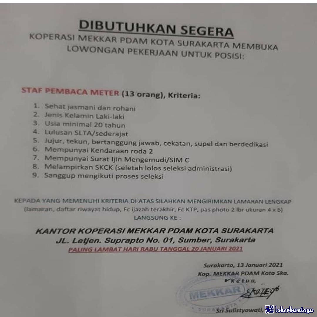Lowongan Kerja Koperasi Mekkar Pdam Kota Surakarta Januari 2021
