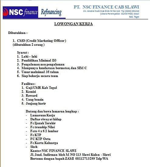 PT. NSC FINANCE CABANG SLAWI