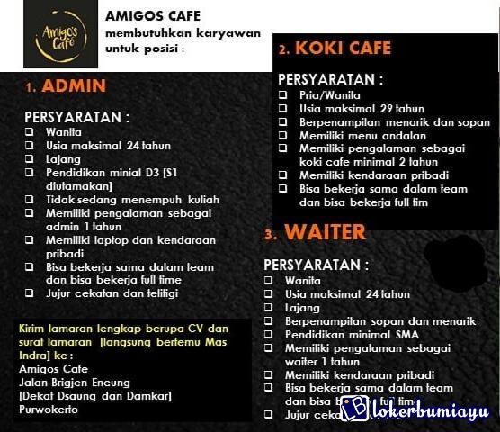 Lowongan Kerja Amigos Cafe November 2020