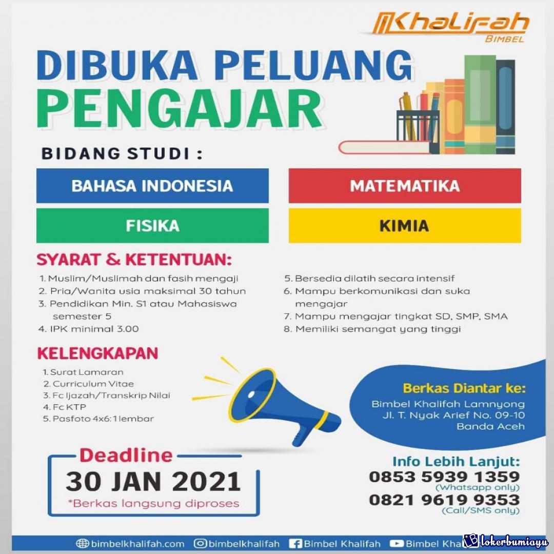 Lowongan Kerja Bimbel Khalifah Banda Aceh Januari 2021