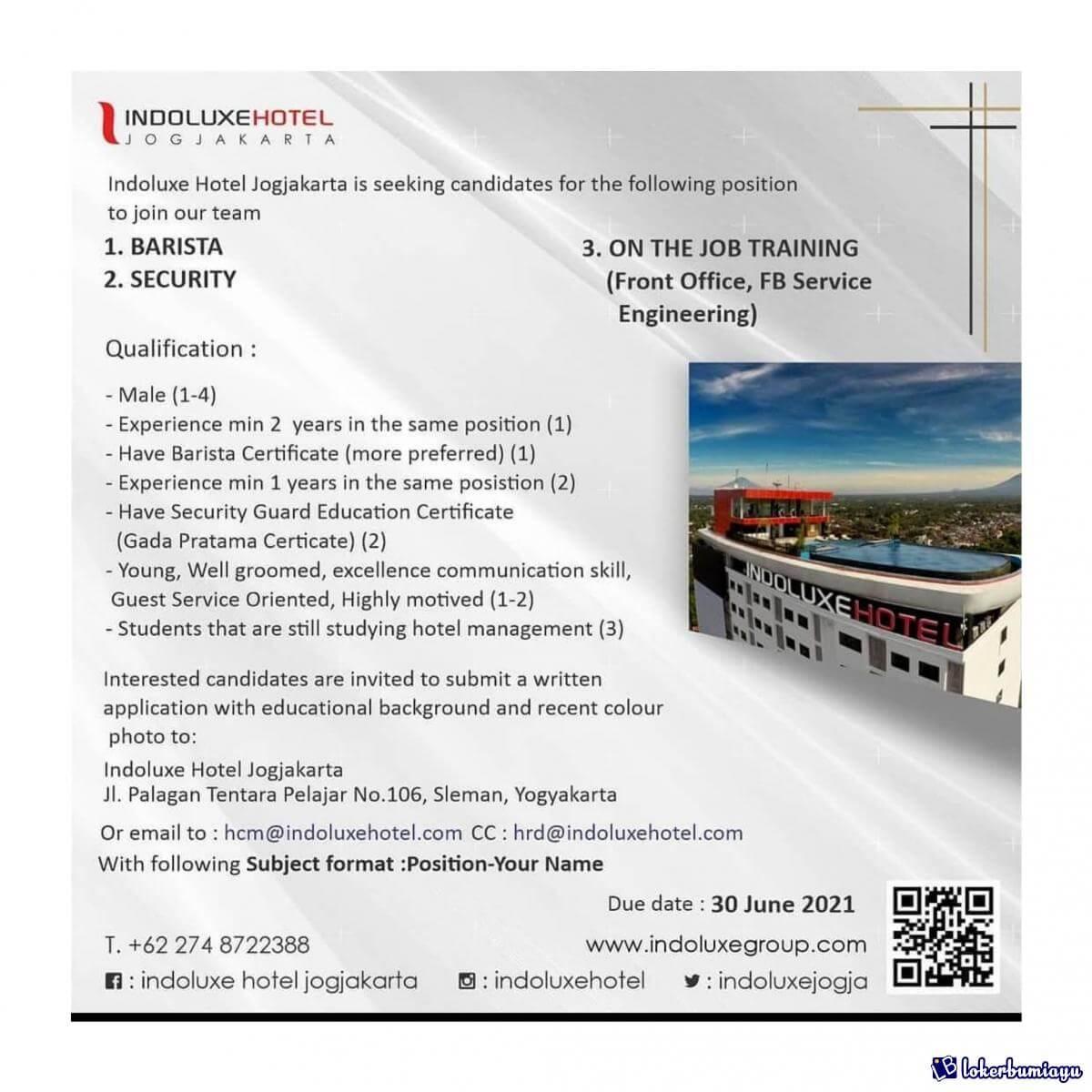 Lowongan Kerja Barista Security On The Job Training Indoluxe Hotel Jogjakarta