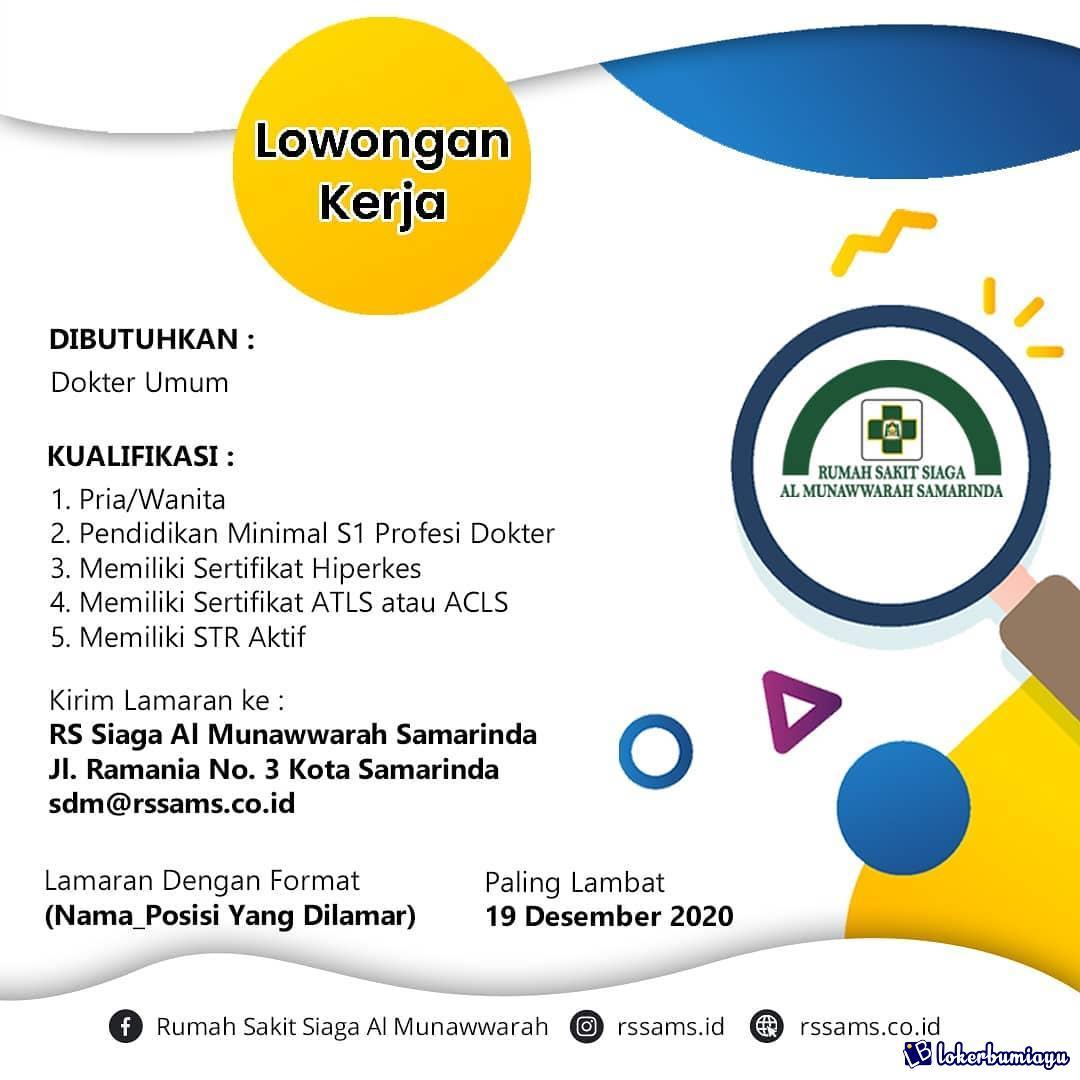 Lowongan Kerja Rumah Sakit Siaga Al Munawwarah Samarinda Desember 2020