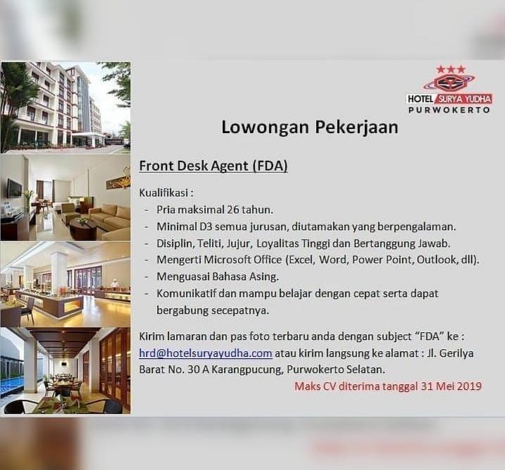 Lowongan Kerja Hotel Surya Yudha Purwokerto Mei 2019