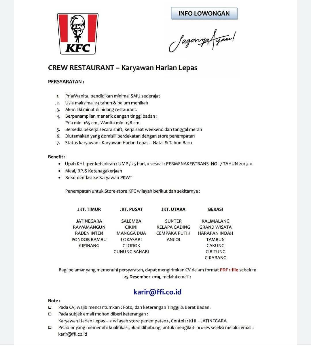 Lowongan Kerja Crew Restaurant Juli 2021