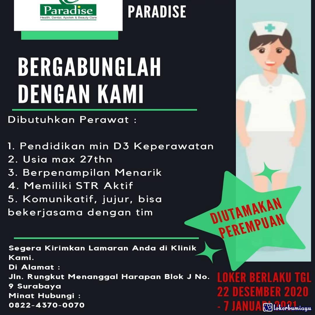 Lowongan Kerja Klinik Paradise Surabaya Desember 2020