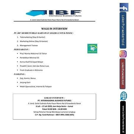 PT. IBF membutuhkan karyawan